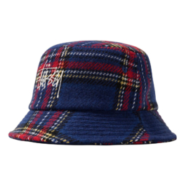 STUSSY BIG LOGO PLAID BUCKET